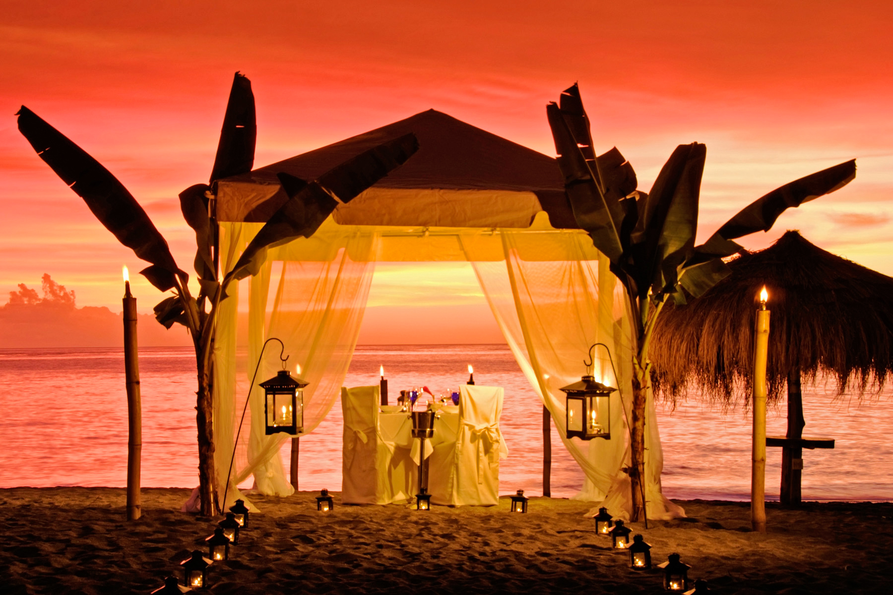 Caribbean      St. Lucia     Anse ChastanetBeach tented dinner, sunset