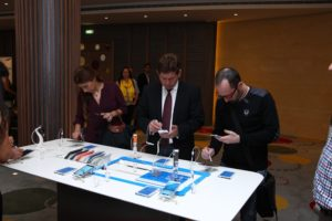 Guests testing the Samsung Galaxy Note 3 for the first time.