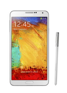 Galaxy Note 3 in white with its pen.