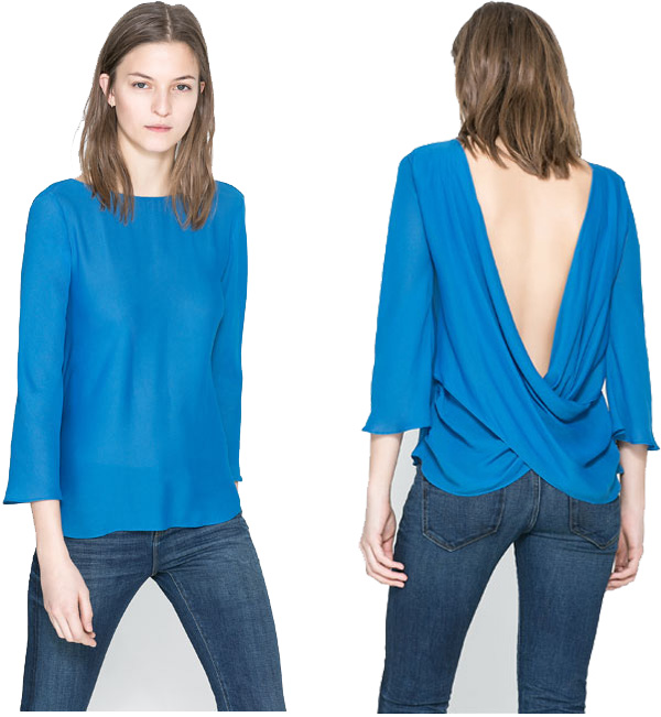 Zara Blouse with draped back.