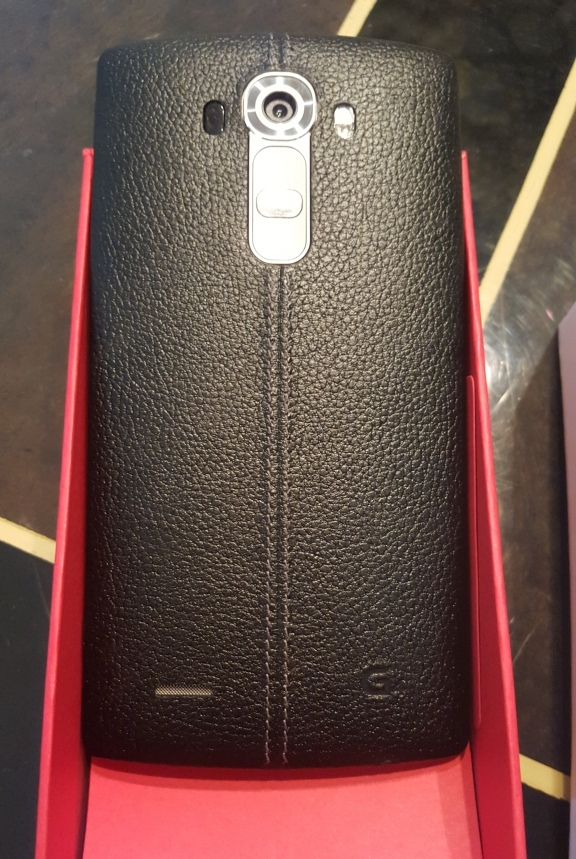 The LG G4's curvy leather back.